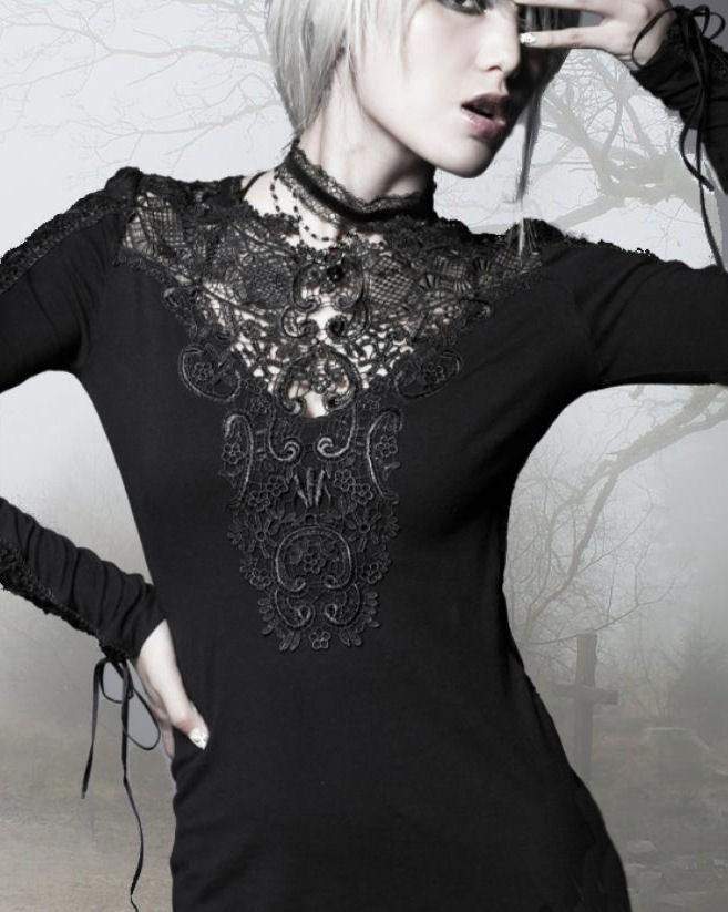 gothic punk rave lolita shirt kleid spitze dress das kleine schwarze 34 36 38 40 ebay. Black Bedroom Furniture Sets. Home Design Ideas