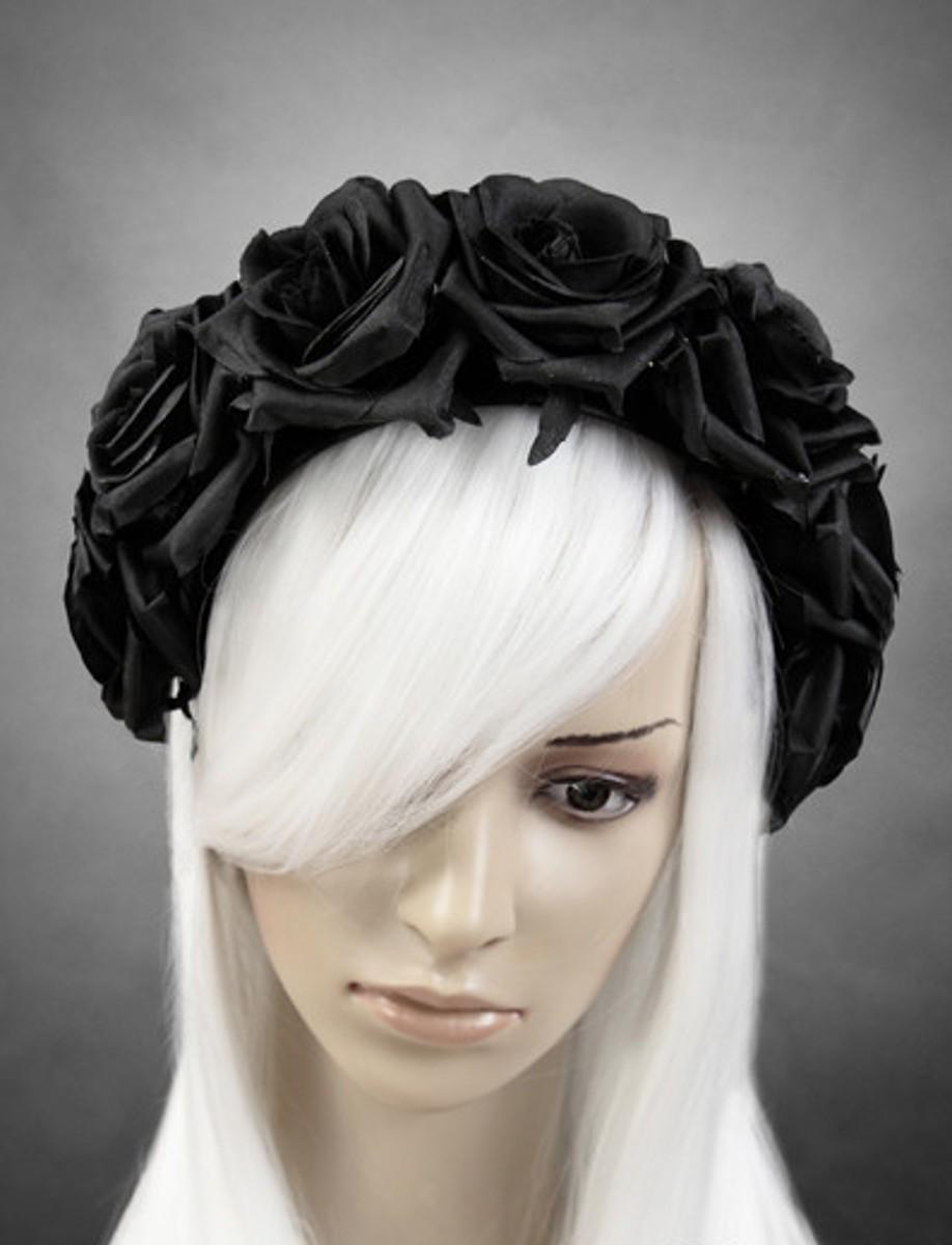 gothic steampunk haarband haarreif kopfschmuck schwarze rosen schwarz ebay. Black Bedroom Furniture Sets. Home Design Ideas